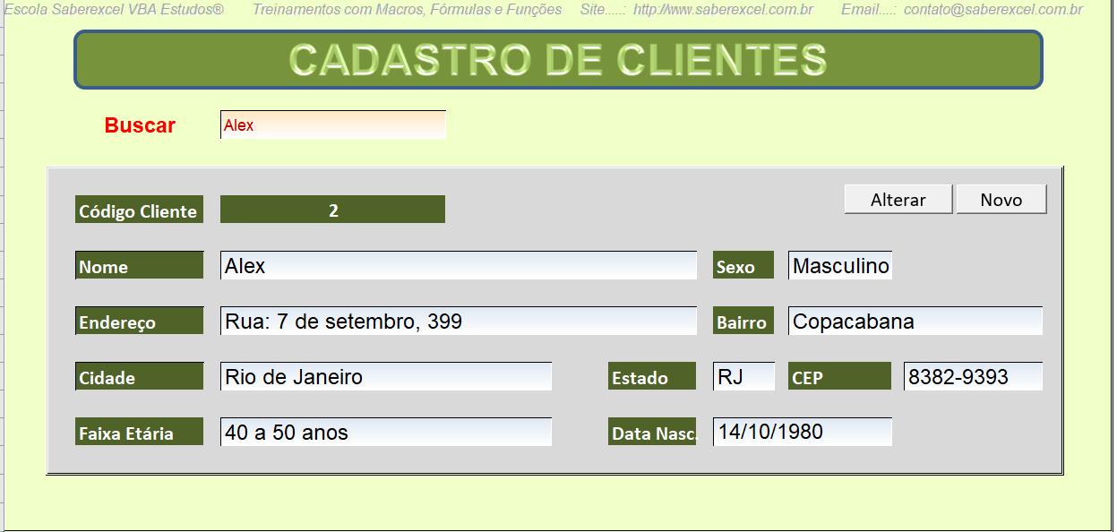 Cadastro de clientes em planilhas Excel VBA